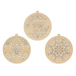 3 medaglioni in legno per decorare Ø...