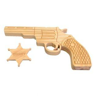 Wooden gun and sheriff star to decorate