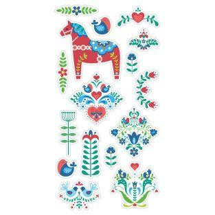 16 blue-green-red puffy stickers - Folk