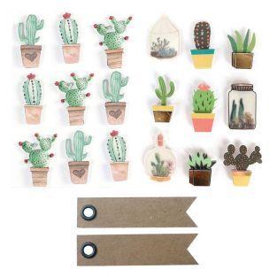 18 stickers 3D Cactus + 20 étiquettes...