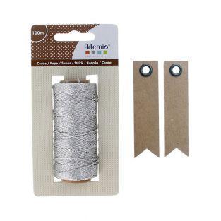 Silver twine 100 m + 20 pennant kraft...