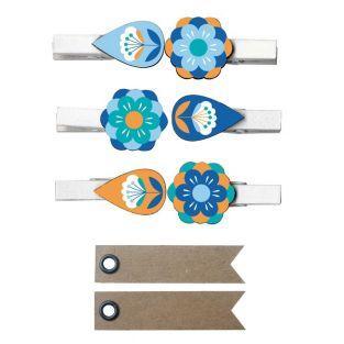 Mini pinces à linge motifs floraux +...