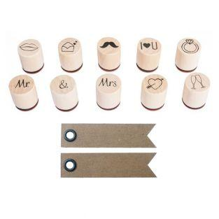 Set Mini Holzstempel Ø 2-2,5 cm -...