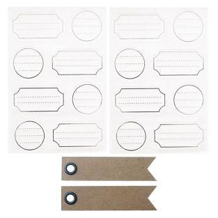 128 white adhesive labels with silver...