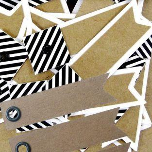 100 striped kraft labels - Pennant +...