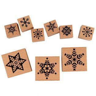 Set 9 sellos de madera - Flocos de nieve