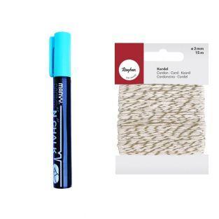 Marqueur-craie 6 mm Bleu + Ficelle...
