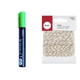Chalk marker 6 mm Green + golden &...