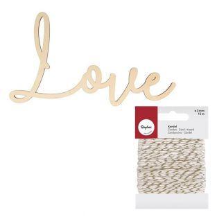Holzschriftzug MDF 30 x 16 cm Love +...