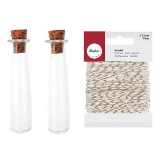 2 Mini-Röhren mit Kork + Weiß-Golden...