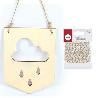 Wimpel aus Holz 20 x 15 cm Wolke +...