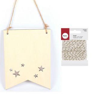 Wimpel aus Holz 20 x 15 cm Sterne +...