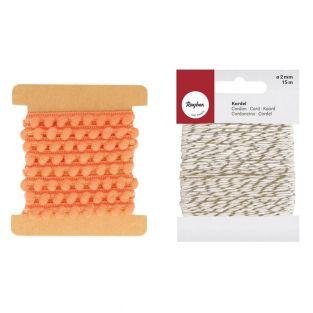 Band mit Pompons 1 m orange +...