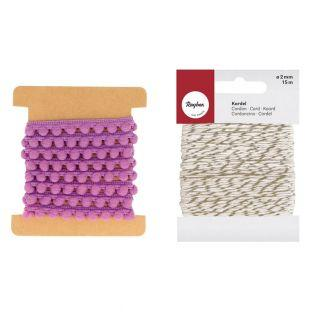 Band mit Pompons 1 m lila +...