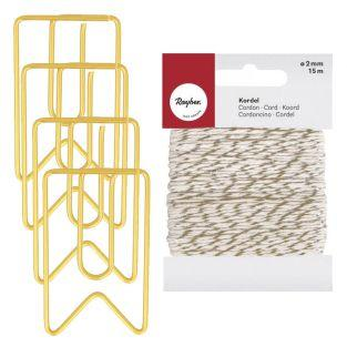 6 golden pennants paper clips 2 x 3.3...