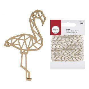 Origami Holz MDF Figur Flamingo 15 cm...