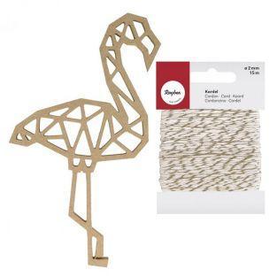 Sagoma in legno MDF Flamingo origami...