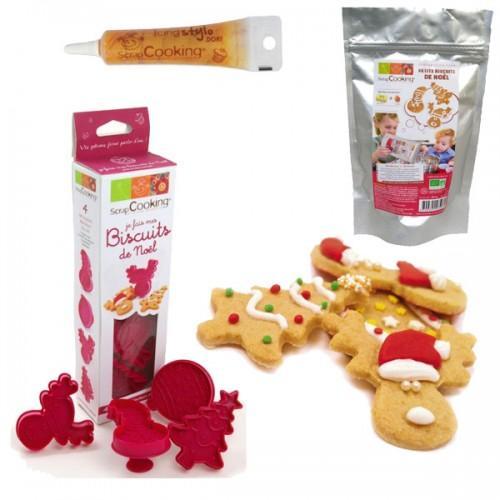 Preparación y cortadores para galletas de Navidad