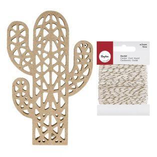 Silueta de madera MDF Cactus de...