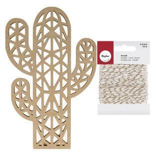 Silhouette en bois Cactus 25 cm +...