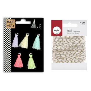 5 pastel-colored tassels 1.5 cm...