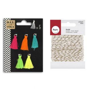 5 brightly colored tassels 1.5 cm...