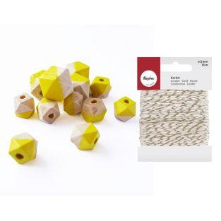 Diamant Holzperlen gelb + Weiß-Golden...