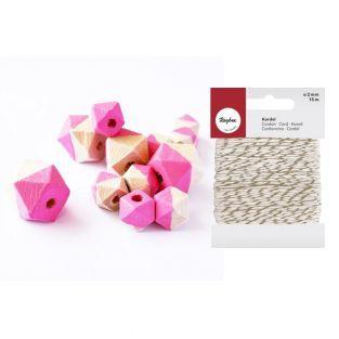 Perles en bois diamant rose + Ficelle...