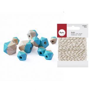 Perles en bois diamant turquoise +...