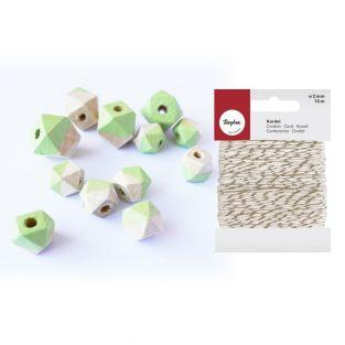 Diamond wood beads green + golden &...