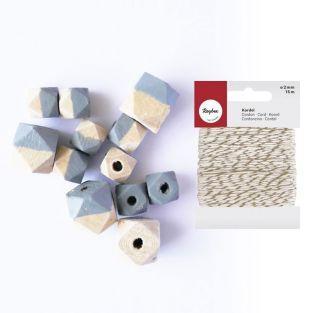 Diamond wood beads gray + golden &...