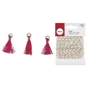 3 Mini-tassels with eyelet 15 mm pink...