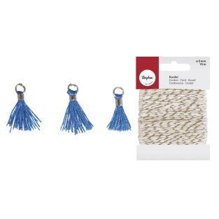 3 mini borlas con ojal 15 mm azul +...