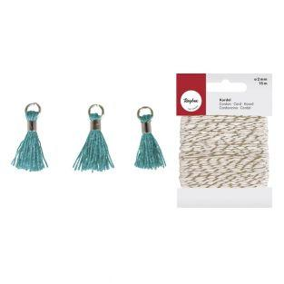 3 Mini-tassels with eyelet 15 mm teal...