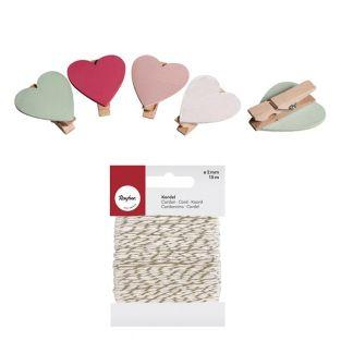 Clothespins x 8 Hearts + golden &...