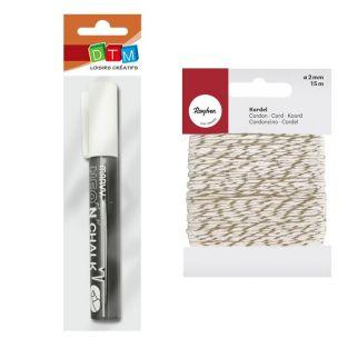 Chalk marker 6 mm White + golden &...