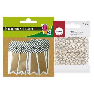 20 striped kraft labels Pennant +...