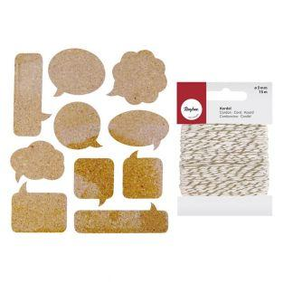 10 Cork Stickers bubbles + golden &...