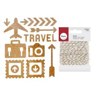 23 Cork Stickers Travel + golden &...