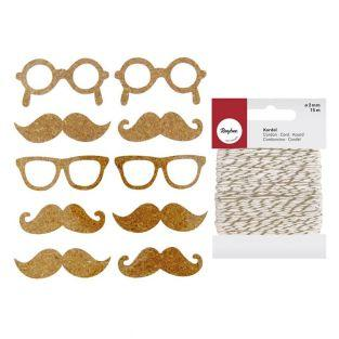 10 Cork Stickers mustache + golden &...