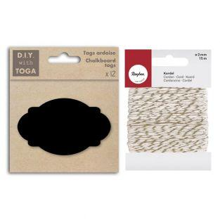 12 perforated slate labels Oval +...