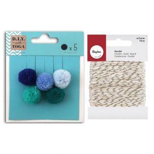 5 pompons ronds en laine 2 cm Hiver +...