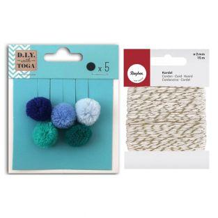 5 Wollpompons 2 cm Winter +...
