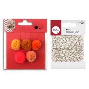 5 borlas de lana redondas 2 cm Otoño...