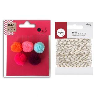 5 pompons ronds en laine 2 cm Eté +...