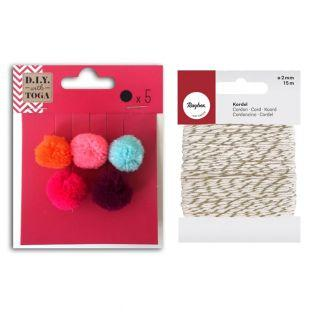 5 Wollpompons 2 cm Sommer +...