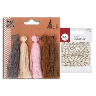 5 maxi cotton tassels 8 cm Spring +...