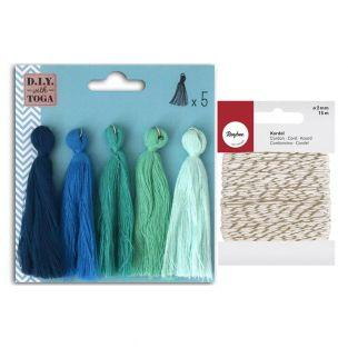 5 maxi cotton tassels 8 cm Winter +...