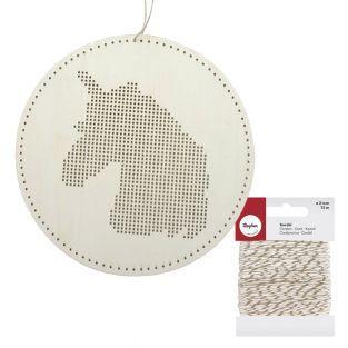 Móvil de madera para bordar Unicornio...
