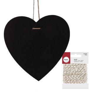 Ardoise cœur à suspendre 23 x 23 cm +...